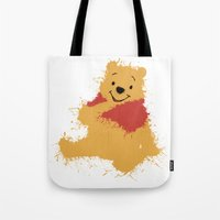 winnie the pooh Tote Bags featuring Winnie The Pooh by DanielBergerDesign