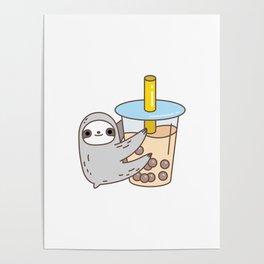 Sloth Loves Bubble Tea Poster