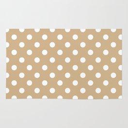 Small Polka Dots - White on Tan Brown Rug