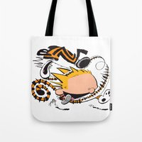calvin and hobbes Tote Bags featuring Calvin and Hobbes caricature design by Eric Goodwin