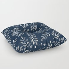 White Leaves on Navy - a hand painted pattern Floor Pillow