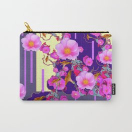Modern Artwork Pink Wild Roses Purple Grey Design Carry-All Pouch