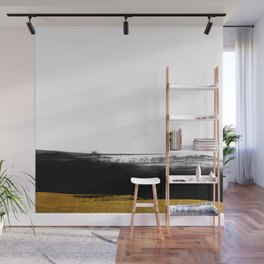 Black and Gold grunge stripes on clear white background - Stripe - Striped Wall Mural