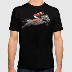 Olympic Equestrian Jumping Dog Mens Fitted Tee MEDIUM Black