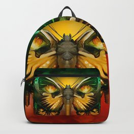 """Dark butterflies flying over a sky of fire"" Backpack"