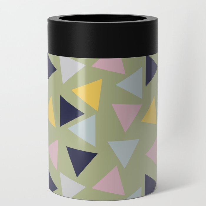 Retro Geometric Triangle Print Can Cooler