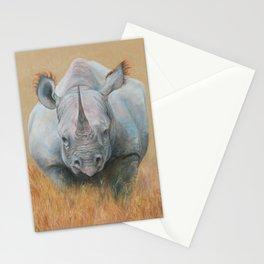 RHINOCEROS Wildlife African animal Safari style Realistic pastel drawing Stationery Cards