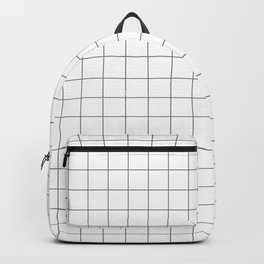 Grid White Gray Backpack