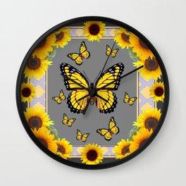 YELLOW MONARCH BUTTERFLIES SUNFLOWER ART Wall Clock