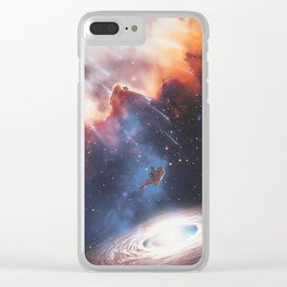 The astronaut attracted by a galaxy by GEN Z Clear iPhone Case