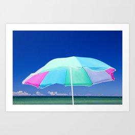 Beach Umbrella at the Shore on Lake Michigan Art Print