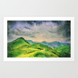 Moody Mountains in the Lake District, England. watercolor painting Art Print