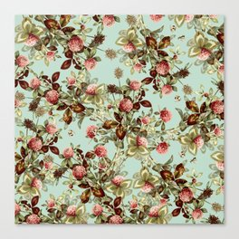 Vintage shabby green pink coral floral pattern Canvas Print