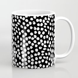 Black and white dots minimal linocut pattern graphic scandi design Coffee Mug