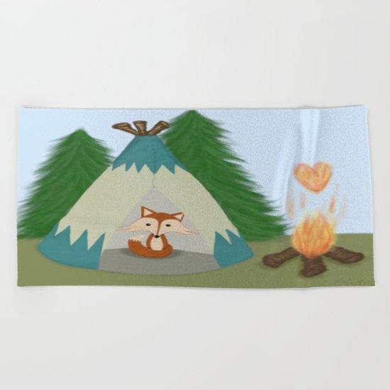 The Lone Fox  Beach Towel
