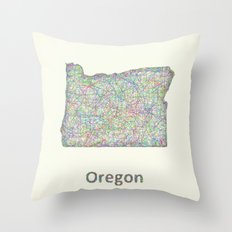 Oregon map Throw Pillow