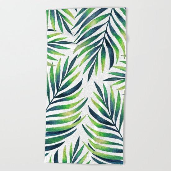 Tropical leaves. White pattern Beach Towel