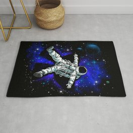 Astronaut Playing in Galaxy like Snow  Rug