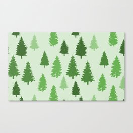 Forest Art In Green Beautiful Trees Nature Pattern Canvas Print