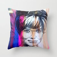angelina jolie Throw Pillows featuring Angelina Jolie by Pablo Moitzheim