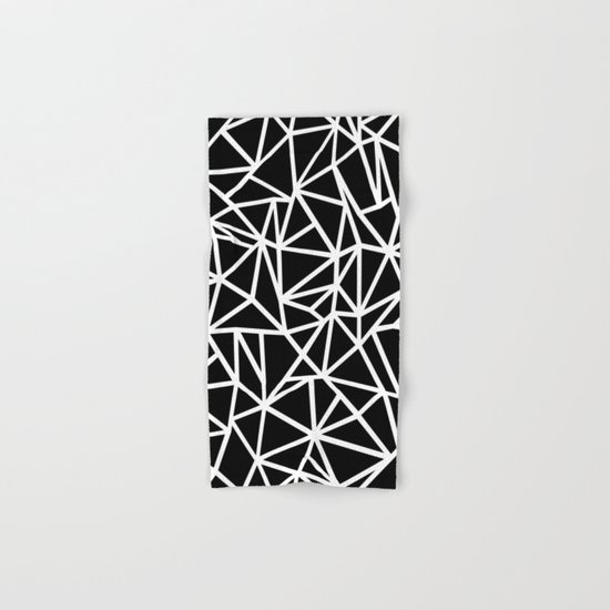 Abstract Outline Thick White on Black Hand & Bath Towel