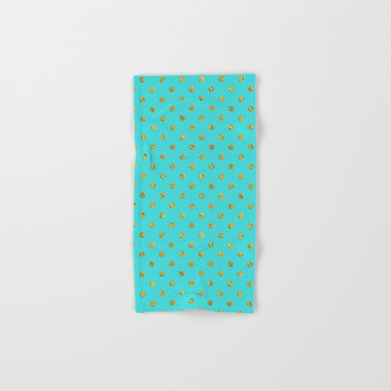 Gold glitter polka dots on turquoise backround pattern Hand & Bath Towel