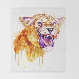 Angry Lioness Throw Blanket