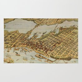 Vintage Pictorial Map of Vancouver BC (1898) Rug