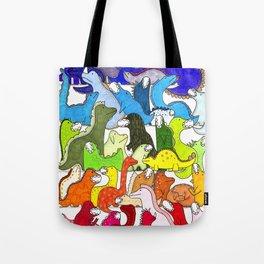 Rainbow Dinosaur Gradient Tote Bag
