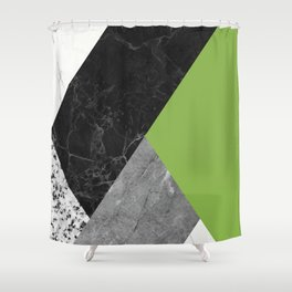 Black and White Marbles and Pantone Greenery Color Shower Curtain