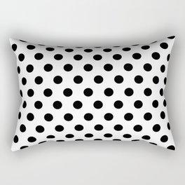 Black Polka Dots on White Rectangular Pillow