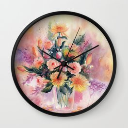 Flower Bouquet Abstract Watercolor Wall Clock