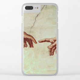 Michelangelo Buonarroti - Hands Of God And Adam Clear iPhone Case