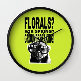 PUG SUKI - FLORALS FOR SPRING - 80S YELLOW Wall Clock