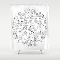 twin peaks Shower Curtains featuring Twin Peaks Tee by Steven Quinn