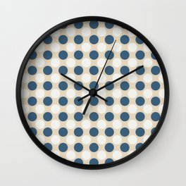 Dark Blue and Off White Uniform Large Polka Dots Pattern on Beige Matches Chinese Porcelain Blue Wall Clock