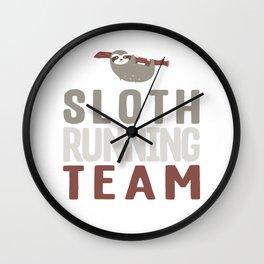 Cute Sloth Running Team For Sloth Runner Wall Clock