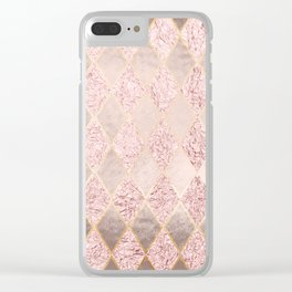 Blush Rose Gold Glitter Argyle Clear iPhone Case