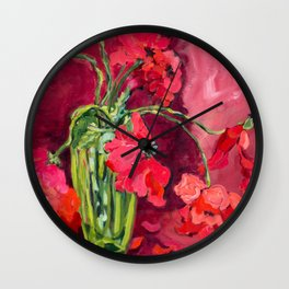 Red Poppies in Green Vase Wall Clock