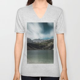 Magnificent lake Krn with mountain Krn, Slovenia Unisex V-Neck