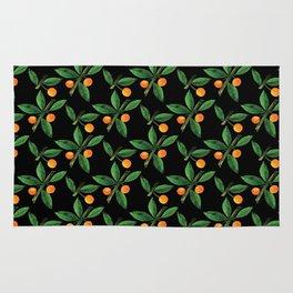 Black green orange watercolor berries leaves pattern Rug