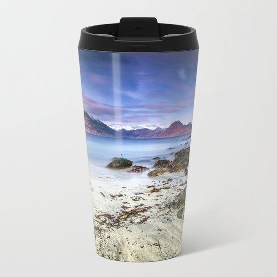 Beach Scene - Mountains, Water, Waves, Rocks - Isle of Skye, UK Metal Travel Mug