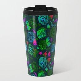 Watercolor Floral Garden in Electric Black Velvet Travel Mug