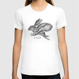 Animal Art   Hare and Quote by Magda Opoka   Animals   Black and White   black-and-white   bw T-shirt