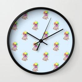 Pug dog in a clown costume pattern Wall Clock