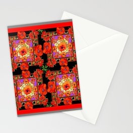 GREY & BLACK ART RED DECO ORANGE-RED POPPIES Stationery Cards