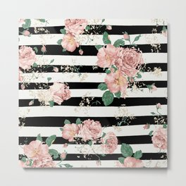VINTAGE FLORAL ROSES BLACK AND WHITE STRIPES Metal Print
