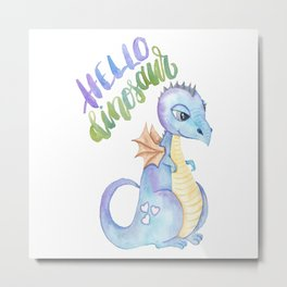 Hello Dinosaur Metal Print