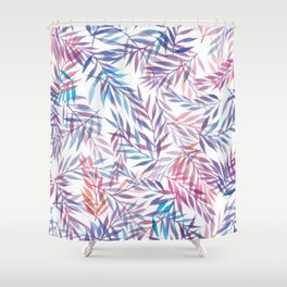 Watercolour Ferns | Sunset Colours Shower Curtain