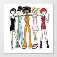 spice girls Canvas Prints featuring The Spice Girls by flapper doodle